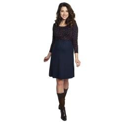 Těhotenské a kojící šaty TILLA modrá hnědý puntík.