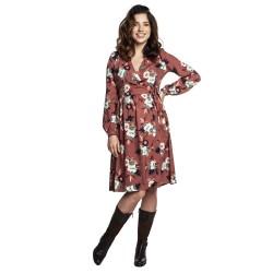 Těhotenské a kojící šaty VIVIEN hnědá s květy.