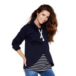 Sportovní těhotenská a kojící mikina LAWRENCE modrá proužek