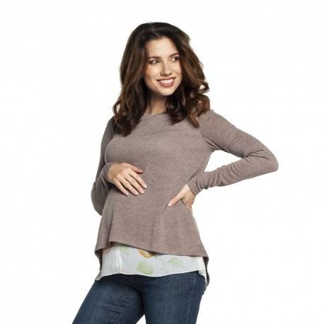Těhotenský a kojící svetr ETIEN růžová