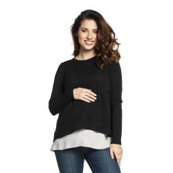 Těhotenský a kojící svetr ETIEN černá