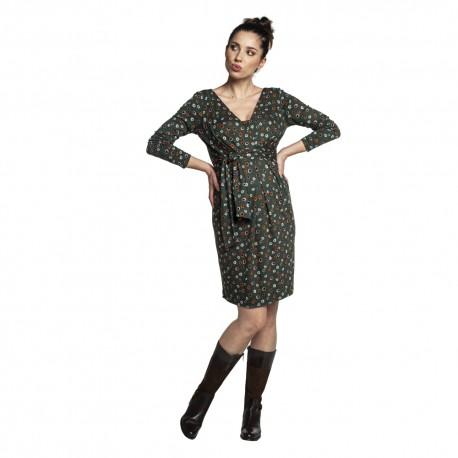 Těhotenské a kojící šaty BLUFI zelená puntík dlouhý rukáv