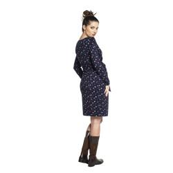 Těhotenské a kojící šaty BLUFI modrá puntík dlouhý rukáv