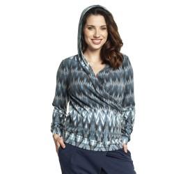 Těhotenský a kojící svetr JUDY modro béžový vzor