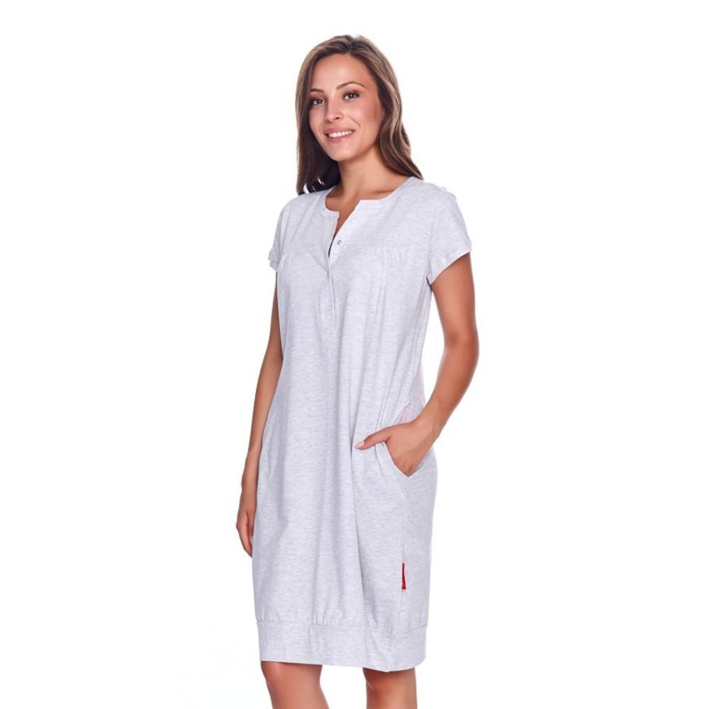 Těhotenská noční košilka Kristýna pro kojení šedá melange