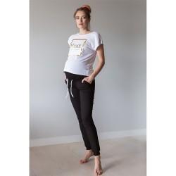 Sportovní těhotenské kalhoty s odnímatelným pasem Miracle černá.