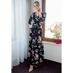 Těhotenské a kojící maxišaty Miracle černé s květy.