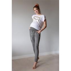Sportovní těhotenské kalhoty s odnímatelným pasem Miracle šedá.